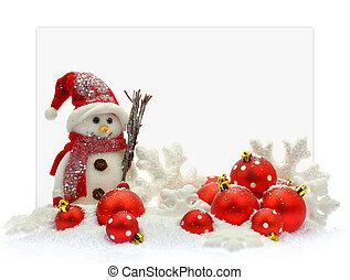 boneco neve, e, ornamentos natal, frente, um papel, cartão