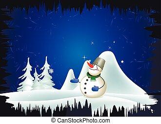 boneco neve, e, paisagem inverno
