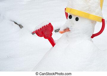boneco neve, em, a, inverno