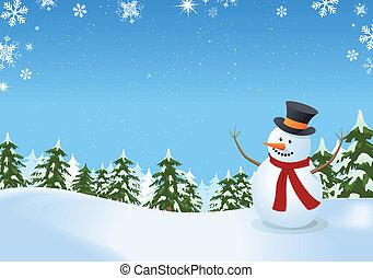 boneco neve, em, paisagem inverno