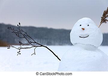 boneco neve, enfrentando, lago congelado, saudação, waving,...