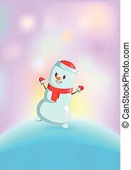 boneco neve, engraçado, card., dançar, lights., isolado, apartamento, experiência., luminoso, vetorial, echarpe, christmas branco, vermelho, illustration.