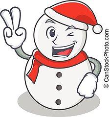 boneco neve, estilo, personagem, dois, dedo, caricatura