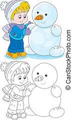 boneco neve, faz, criança
