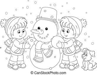 boneco neve, fazer, crianças