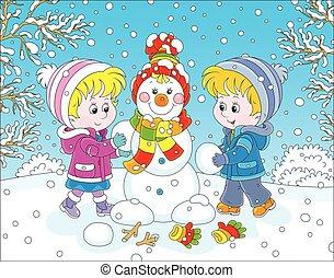 boneco neve, fazer, crianças, Natal