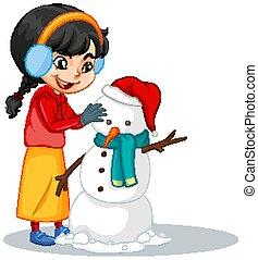 boneco neve, fazer, fundo, menina, isolado