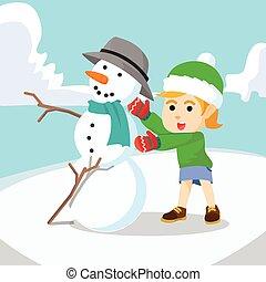 boneco neve, fazer, menina