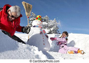 boneco neve, fazer, menininha, avô