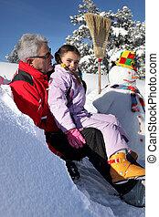 boneco neve, fazer, pequeno, vovô, menina