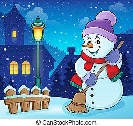 boneco neve, imagem, assunto, inverno, 6
