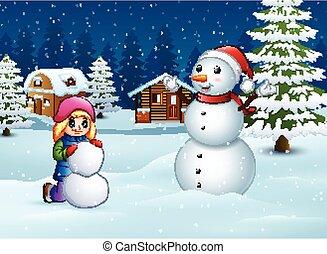 boneco neve, inverno, nevado, fazer, menina, paisagem