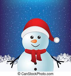 boneco neve, inverno, nevado