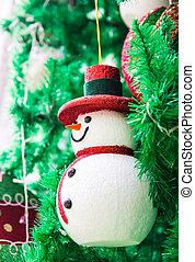 boneco neve, ligado, árvore natal