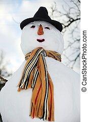 boneco neve, listrado, echarpe