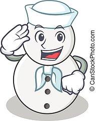 boneco neve, marinheiro, personagem, estilo, caricatura