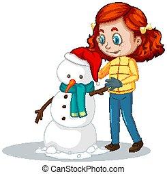 boneco neve, menina, branca, fazer, fundo