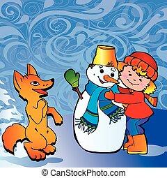 boneco neve, menina, fox.