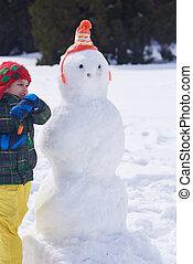 boneco neve, menino, fazer