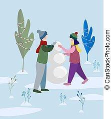boneco neve, menino, ilustração, vetorial, fazer, menina, park.