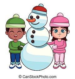 boneco neve, menino, menina