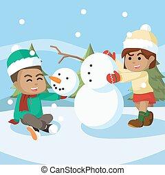 boneco neve, menino, menina, fazer, africano