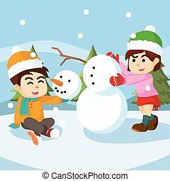 boneco neve, menino, menina, fazer