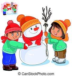 boneco neve, menino, pequeno, vetorial, fazer, menina