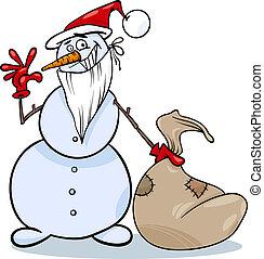 boneco neve, natal, ilustração, caricatura
