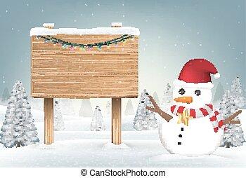 boneco neve, natal, madeira, tábua, sinal