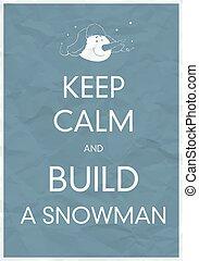 boneco neve, pacata, construir, mantenha