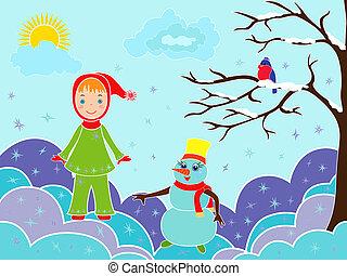boneco neve, pequeno, menina, snowdrifts