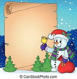 boneco neve, pergaminho, natal