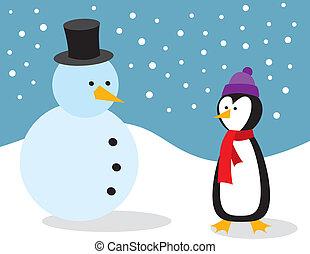 boneco neve, pingüim
