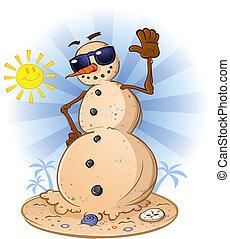 boneco neve, praia areia, caricatura