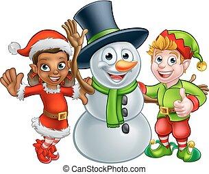 boneco neve, santas, duende, ajudantes, natal