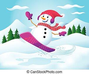 boneco neve, snowboarding, ar