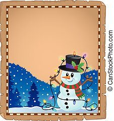 boneco neve, tema, pergaminho, natal, 4
