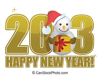 boneco neve, texto, ano, novo, 2013, feliz