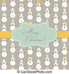 boneco neve, vindima, chapéus, cartão, -, vetorial, retro, natal, bigode