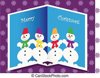bonecos neve, cartão natal