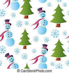 bonecos neve, seamless, nevado