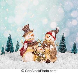 bonecos neve, wintery, cena familiar