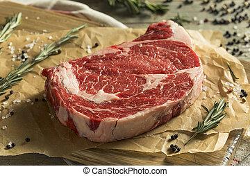 boneless, ribeye, alimentado, pasto o césped, filete, crudo