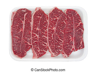 Boneless top blade steak on tray