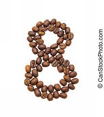 bonen, koffie, gemaakt, acht, geroosterd