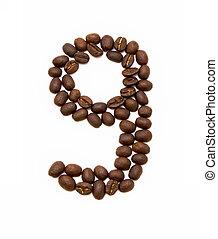 bonen, koffie, gemaakt, negen, geroosterd