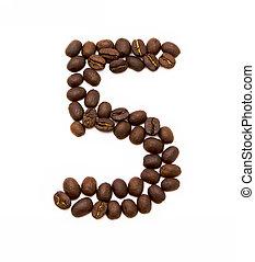 bonen, koffie, gemaakt, vijf, geroosterd