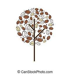 bonen, plant, boompje, koffie