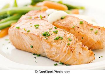 bonen, salmon, filet
